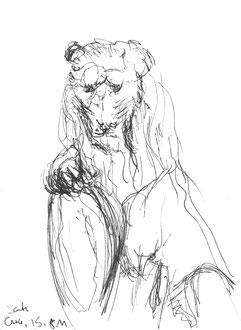 Löwe, Florenz, 2011, Tusche, 21 x 15 cm