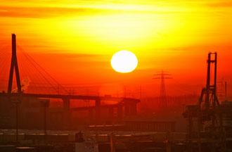 26.1.10, 18.Stock Elbphilharmonie, Blick auf den Hafen