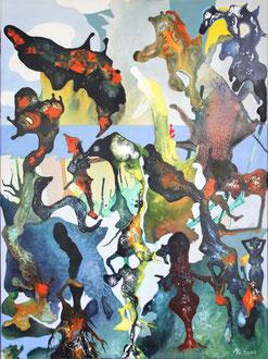 Seltsame Figuren begegnen sich nach den Tagen der Einsamkeit 2021, 90 x 120 cm, Acryl auf Leinwand