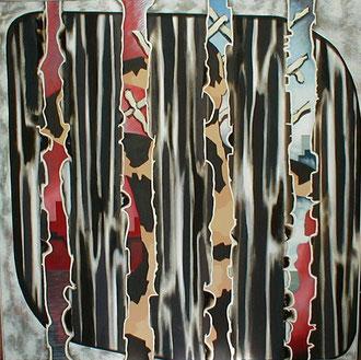 """""""Der getarnte Blick"""", 1980, 160x160cm Mischtechnik auf Leinwand"""