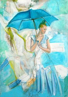 Unterm Schirm, Öl, Acryl und Stifte auf Leinwand, 100cm x 70cm