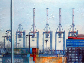 Hafenkrane, Mixed Media auf Leinwand, 90cm x 120cm