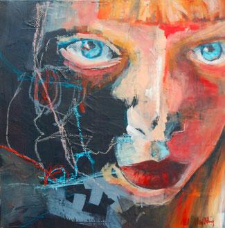 ALEXA (Heads III), Mixed Media auf Leinwand, 60cm x 60cm
