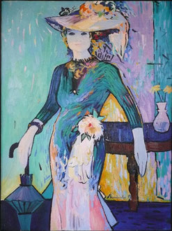 The woman with an umbrella