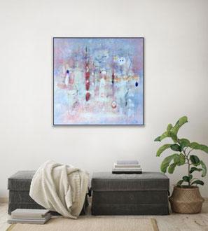 Suoni nell'aria, 2018, tecnica mista, 101 x 100 cm