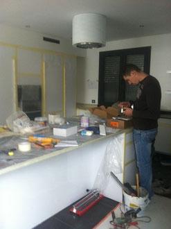 la cuisine en cours de rénovation