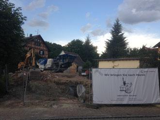 Bauphase 1: Abschluss des Abrissverfahrens und Aushub; Stand: 09.07.2017