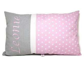 Kissen mit Name in rosa und grau
