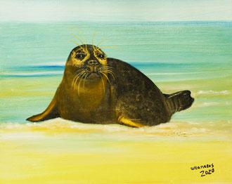 """Nr. 79, Seehund """"Sir Angus"""", Öl auf Malplatte, Größe 30 x 24 cm, 2020"""