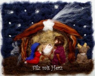 WOLLBILD KRIPPE MIT JOSEF, MARIA UND JESUSKIND- FILZ MIT HERZ FILZBILDER