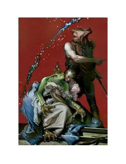 "Recomposed Giambattista Tiepolo, St. Agatha, 1750   ""FROSCHKÖNIG"" 2013 Oel auf Leinwand 180 X 125 cm"