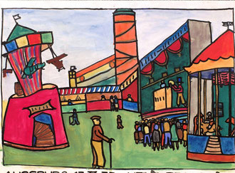 ((Zwölf Jahre alt). Grafik im Buch-Illustrations-Stil um 1900. Starke schwarze Konturlinien und eine große Flächigkeit. Fast schon ein Plakat. Hier aber schon etwas freier in der Perspektive mit farbigen Kontrasten. .