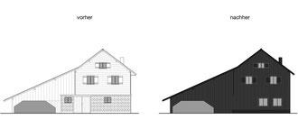 Das kleine Schwarze, Homburg: Südfassade Bestand und Neu