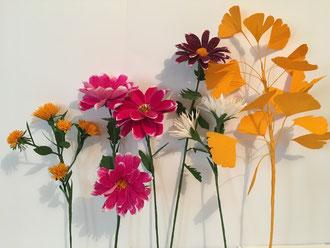 Création Bouquet d'automne en papier, art du papier atelier  à Paris