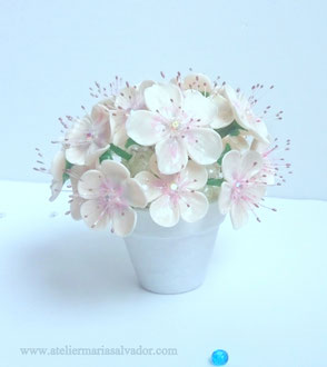 Création petit pot de fleurs en porcelaine froide