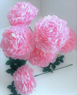 Bouquet de roses en papier style pivoine pompon  création atelier Maria'S