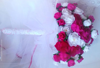 Bouquet de roses en papier- création atelier Maria'S fleuriste Parisien