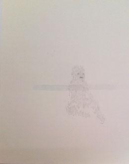 nu-re no.16  2009  48.5  66.5 cm  pencil, pen, paper, Watercolors