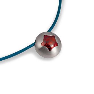 """Hanger  """"Krokus""""- edelstaal + synth. kleursteen (ook als ring + oorhanger te verkrijgen)"""