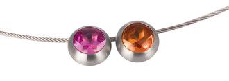 """Hanger """"Sultan""""- edelstaal + synth. kleursteen (ook als ring + oorhanger te verkrijgen)"""