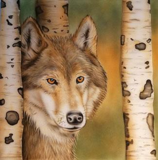 Wolf hinter Birken mit Airbrush bemalt / Geschenk