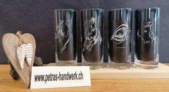Wassergläser graviert 4 - Set Pferd