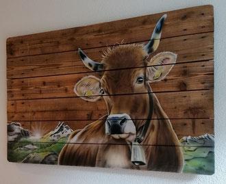 Kuh Wandbild mit Schärhorn / Kundenauftrag / 120 x 80 cm
