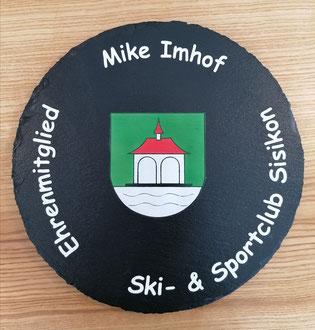 Ehrenmitglied Geschenk / Schieferdrehteller / Ski und Sportclub