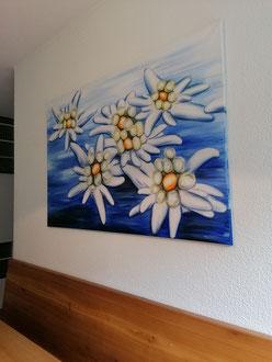 Edelweiss 80 x 120 cm auf Leinen versiegelt / zu verkaufen Fr. 290.-