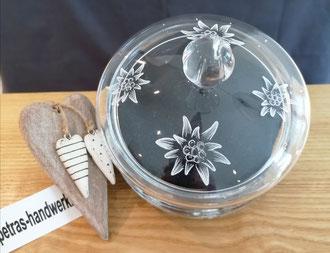 Kristalldose graviert Edelweiss / Glasgravur