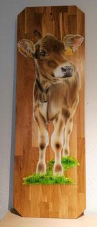 Kälbli vom Axen  auf Eiche  / Wandbild Kälbli