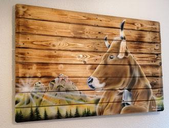 """Holzwandbild """" Kuh mit Mythen """" / 120 x 80"""