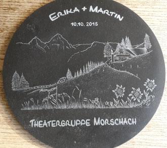 Kundenauftrag Steingravur auf Marmot Drehplatte Zur Hochzeit