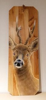 Holz Wandbild Rehbock /  Auf Eichenholz  40 x 120 cm