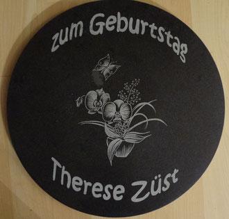 Kundenauftrag Steingravur auf Marmor Drehplatte Zum Geburtstag