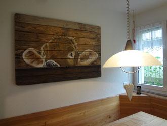 Airbrush Wandbild auf Holz 120 x 80 cm