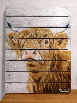 Wandbild Schottisches Hochlandrind 60 cm x 80 cm