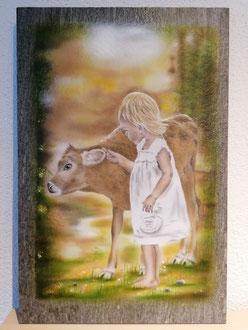 Steinplatte bemalt Airbrush  zu verkaufen Fr. 270.-