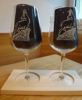Weingläser graviert Gemse / Geschenkidee