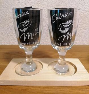 Kaffeegläser graviert / Zur Hochzeit / Geschenkidee
