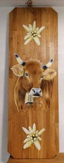 Wandbild Kuh mit Edelweiss auf Eichenholz /  40 x 120 cm / zu verkaufen Fr. 290.-