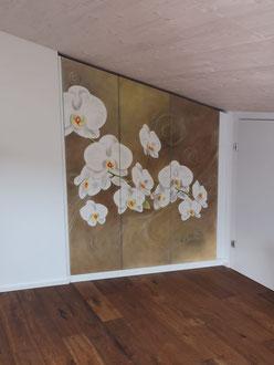 Wandschrank bemalt Airbrush Orchideen