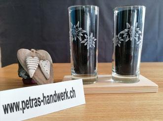 Wasserglas graviert / Edelweiss / Geschenkidee