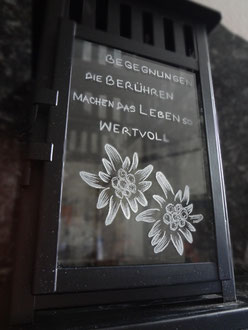 Laterne graviert / Edelweiss Laterne / Glasgravur