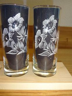 Glasgravuren Mineralwasser Enzian