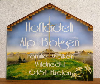 Hofladen Tafel Alp Bolgen Kundenauftrag