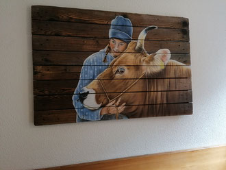 Holzwandbild Airbrush  120 X 80 cm
