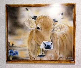 Wandbild Airbrush Kuh / 90 x 75