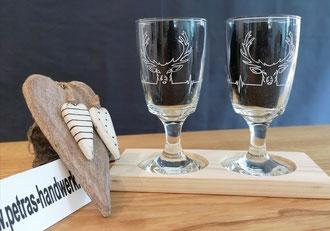 Kaffeegläser graviert / Geschenkidee für Jäger / Glasgravur