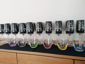 Weingläser graviert Taufe / Glasgravur